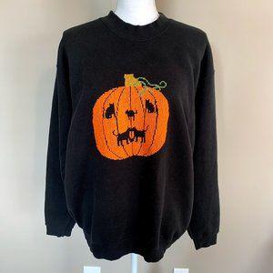 90s Halloween Pumpkin Black Cat Stitch Sweatshirt